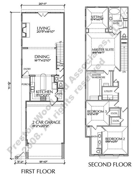 narrow townhouse floor plans townhouse plan d6050 2321