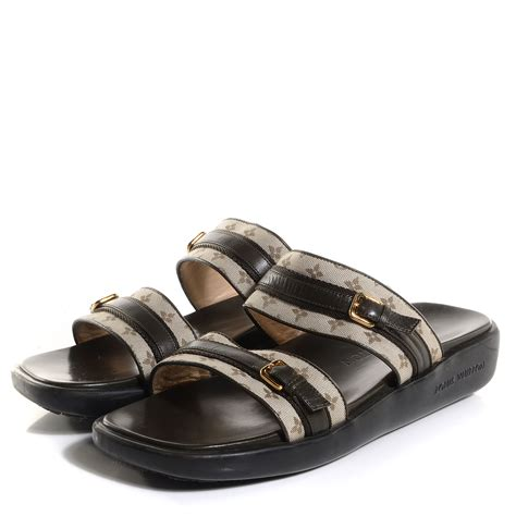 louis vuitton sandals louis vuitton mini monogram sandals khaki 37 5 85483