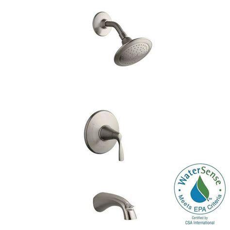 brushed satin nickel 3 handle combination bathroom tub kohler mistos single handle 1 spray tub and shower faucet