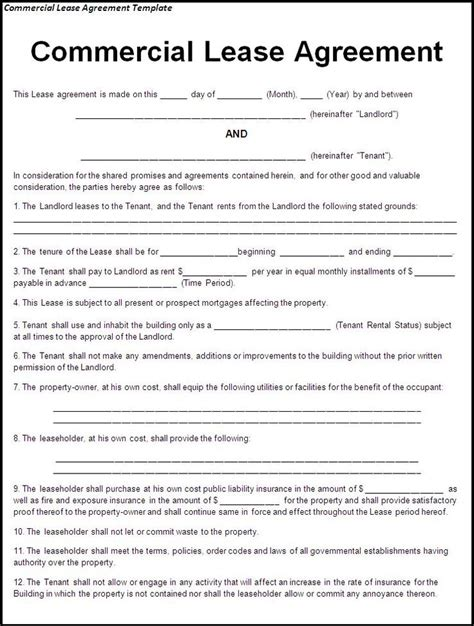 commercial rental lease agreement template printable sle lease agreement template form real