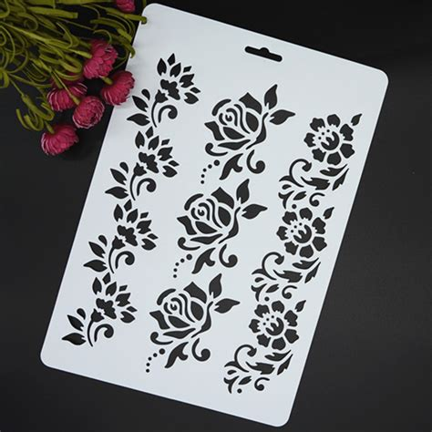 Paper Stencils Crafts - flowers masking spray stencil for walls painting embossing
