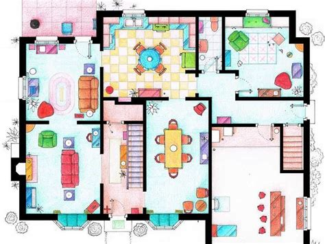 See The Floor Plans From The Houses Of Your Favorite Tv The Simpsons House Floor Plan