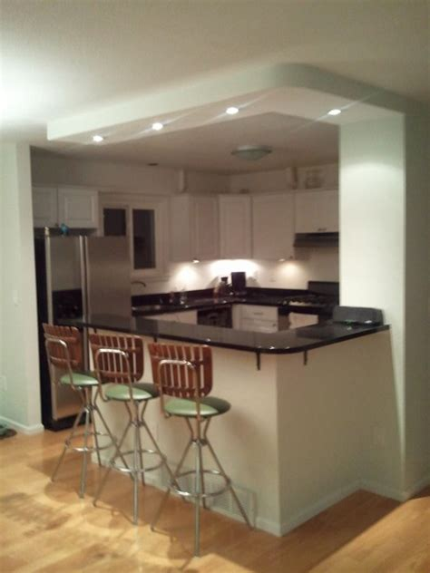 2 Level Kitchen Island curved island and soffit