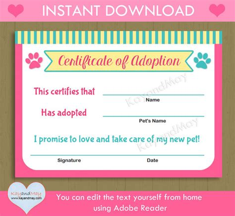 pet adoption certificate template printable pet adoption certificate animal theme cat