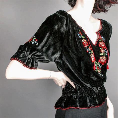 silk satin velvet embroidered peasant blouse ca 1930 s