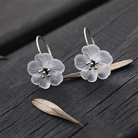 Silver Handcrafted Jewellery - 925 sterling silver handmade lotus flower earrings free