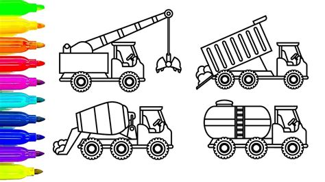 construction trucks coloring page learn colors for kids with crane dump truck coloring