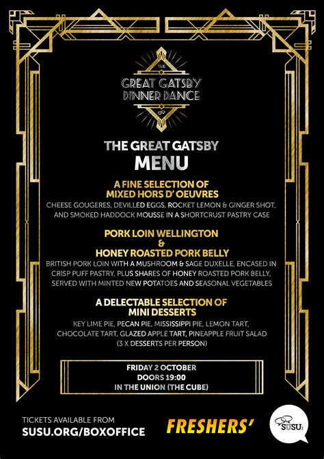 great gatsby dinner menu the great gatsby dinner menu and band announcement