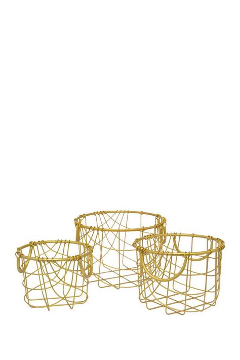 gold wire basket three gold metal wire baskets set of 3 nordstrom rack
