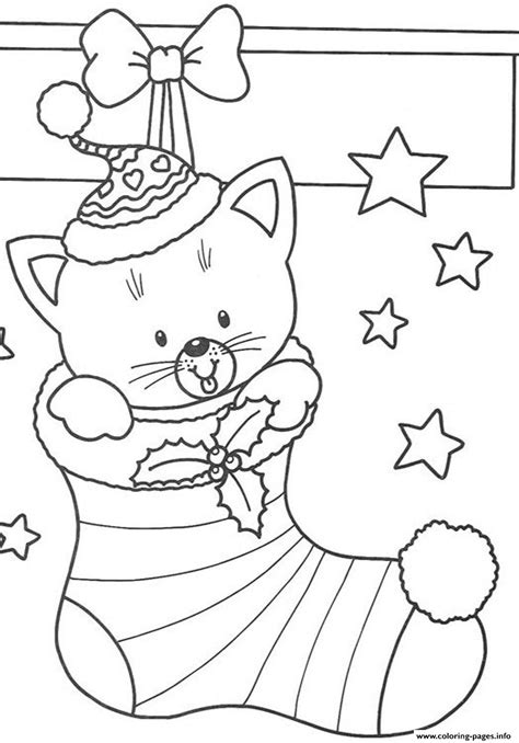 christmas kitty coloring page free s christmas cat in stocking8a58 coloring pages printable