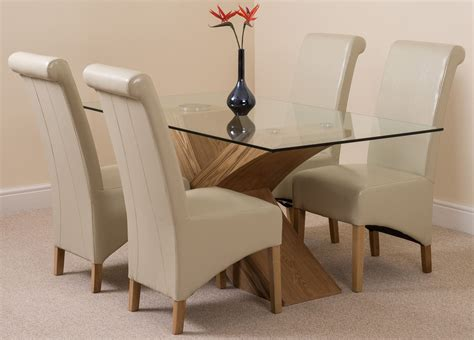 small glass dining table and 4 chairs valencia small oak 160cm modern glass dining table 4