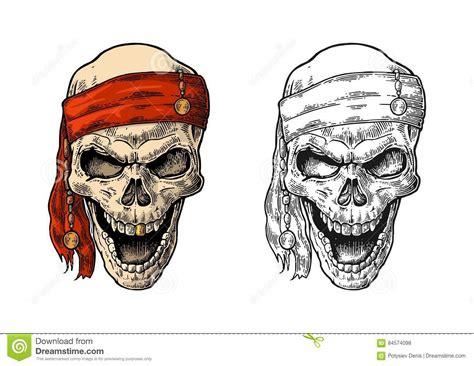 skull pirate in bandana smiling black vintage engraving