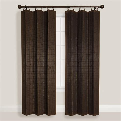 Espresso Bamboo Ring Top Curtain World Market Bamboo Kitchen Curtains