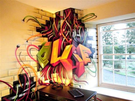 graffiti wallpaper ps3 children teen kids bedroom graffiti mural hand