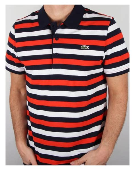 Stripe Polo by Lacoste Stripe Polo Shirt Navy White Cotton Top Mens