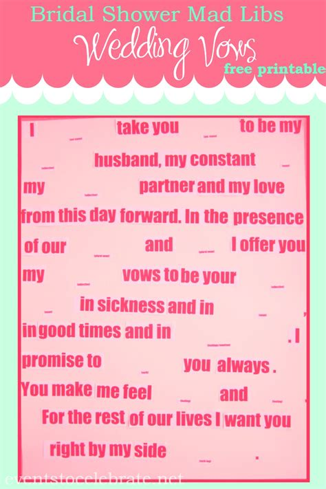 wedding vows bridal shower mad lib bachelorette rehearsal mad libs wedding vows events to celebrate