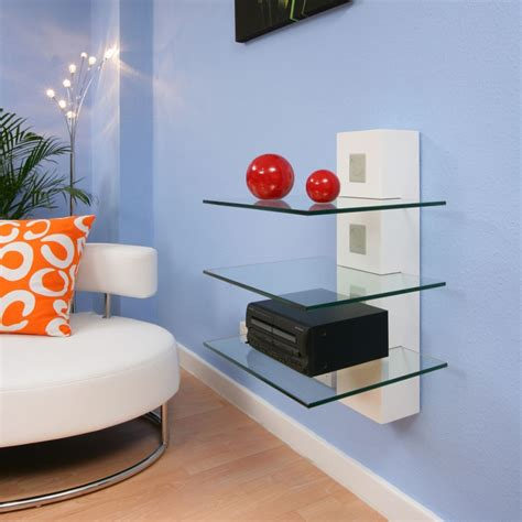 modern wall mounted shelves hi fi tv stand shelving white glass shelves wall mounted