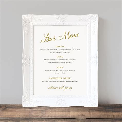 wedding drink menu template printable wedding bar menu template wedding bar sign