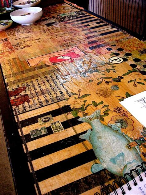 Decoupage Countertops - collaged table gorgeous craft ideas diy