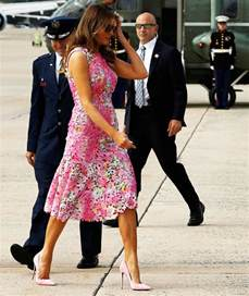 melania trump flaunts figure in floral dress with