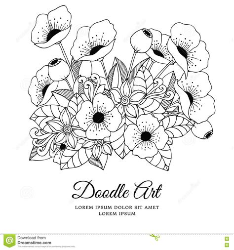 anti stress coloring book doodle and color your stress away vector illustration zentangl flowers poppies doodle