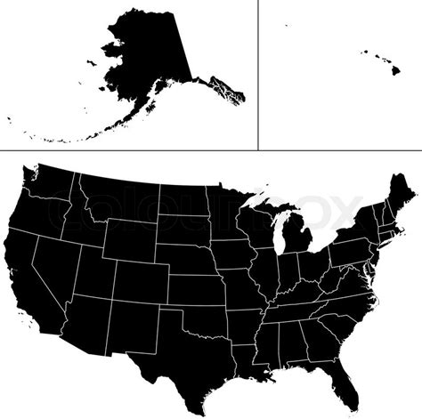 america map shape detailed vector shape of the unites states of america
