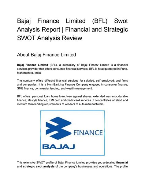 Mba Bajaj Auto Swot Analysis by Bajaj Finance Limited Bfl Swot Analysis Report