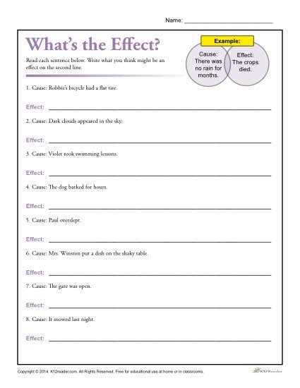 Cause And Effect Worksheets 2nd Grade by What S The Effect Printable Cause And Effect Worksheet