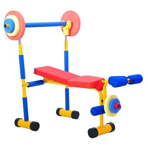 kids workout bench exercise gym kids weight bench set fun fitness childrens