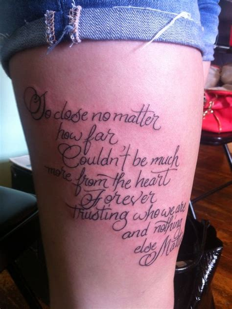 tattoo forever lyrics so close no matter how far couldn t be much more from the