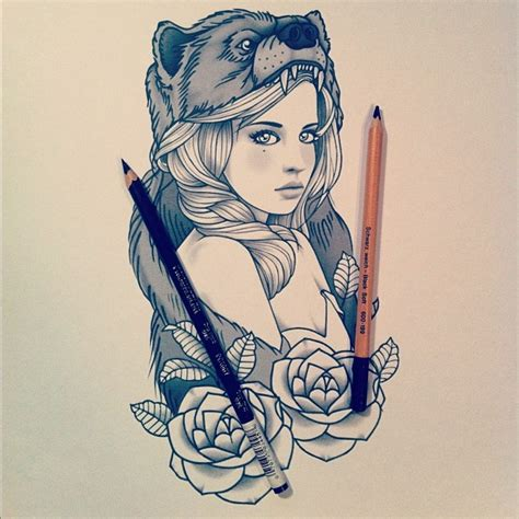 Tattoo Girl Sketch | tattoo sketch sweet girl heart of a bear jpg 612 215 612