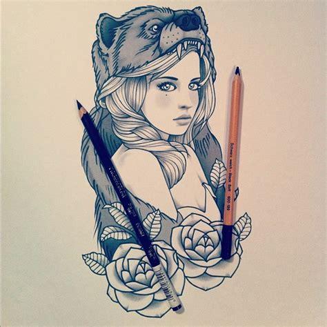 tattoo girl sketch tattoo sketch sweet girl heart of a bear jpg 612 215 612