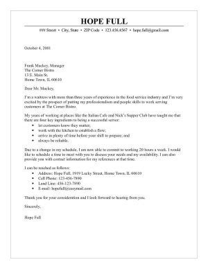 Waiter Cover Letter by Waitress Cover Letter