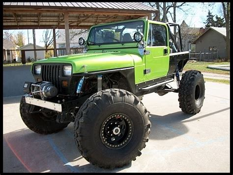 Lime Green Lifted Jeep Beastly Lime Green And Black 1988 Jeep Wrangler Yj Sweet