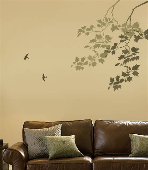 wall stencils reusable wall stencil sycamore branches and birds
