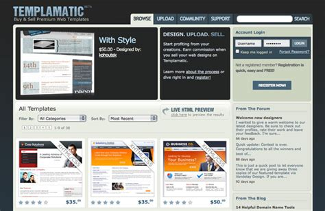 sell html templates 10 places to sell templates webdesigner depot