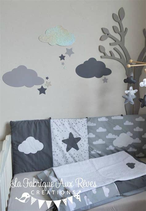 stickers chambre bebe stickers nuages 233 toiles gris fonc 233 argent gris clair