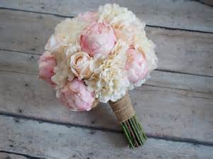 shabby chic wedding bouquet peony rose and hydrangea