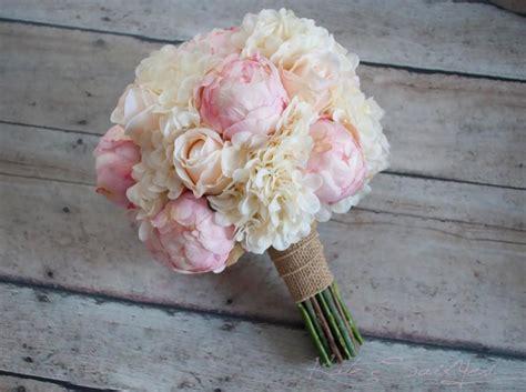 shabby chic wedding bouquet peony rose and hydrangea