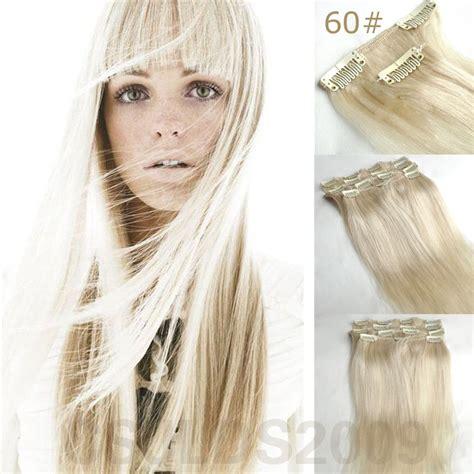 platinum clip in hair extensions 14 quot 30 quot 100 clip in real human hair extensions