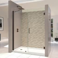 glass shower doors at home depot dreamline unidoor 58 to 59 in x 72 in semi framed hinged