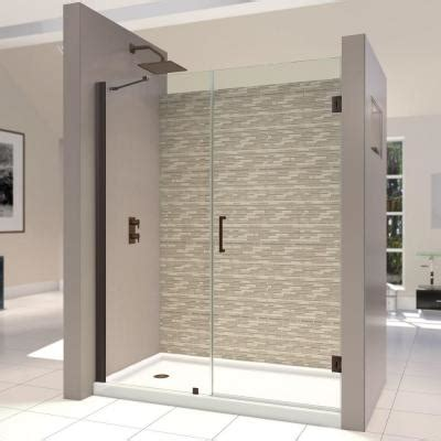 Frameless Glass Shower Doors Home Depot Dreamline Unidoor 58 To 59 In X 72 In Semi Framed Hinged Shower Door In Rubbed Bronze Shdr