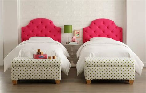 girls headboards kids bedroom furniture design of pink tufted with green