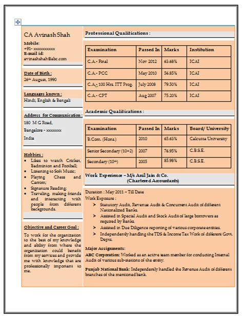 resume format for experienced accountant doc 10000 cv and resume sles with free resume sle for experienced chartered