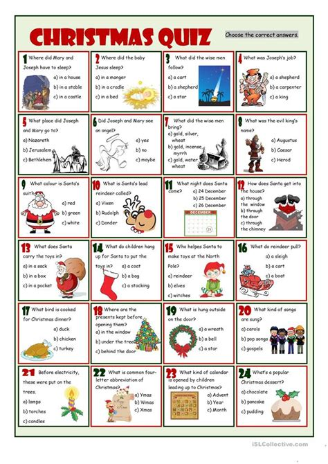 christmas quiz worksheet free esl printable worksheets