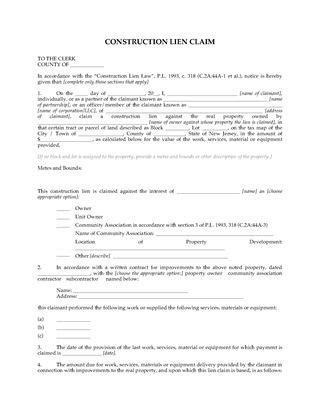 new jersey lien forms | legal forms and business templates