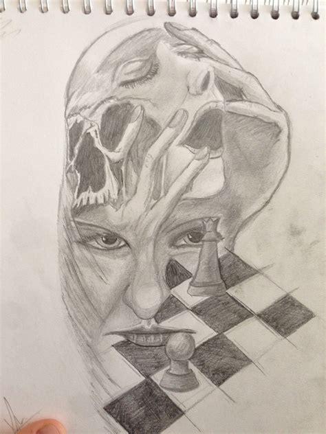 chess girl skull morph sketches art male sketch