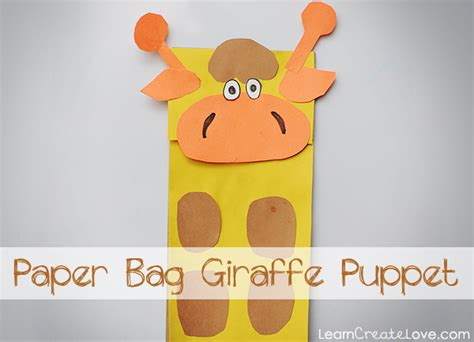 How To Make Animal Puppets With Paper Bags - paper bag giraffe craft