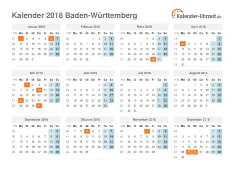 Ferien Kalender 2018 Feiertage 2018 Baden W 252 Rttemberg Kalender