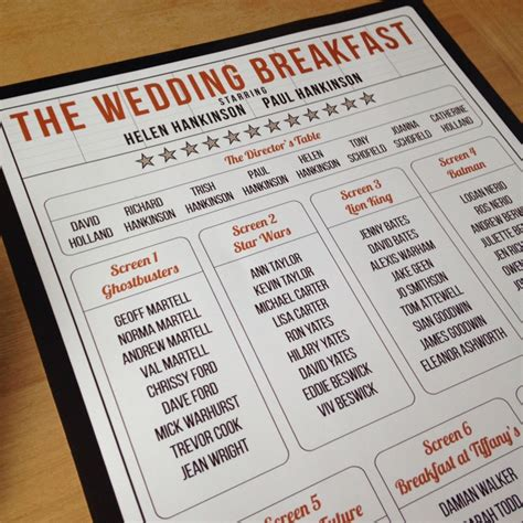movie themes names 101 great ideas for your wedding table names